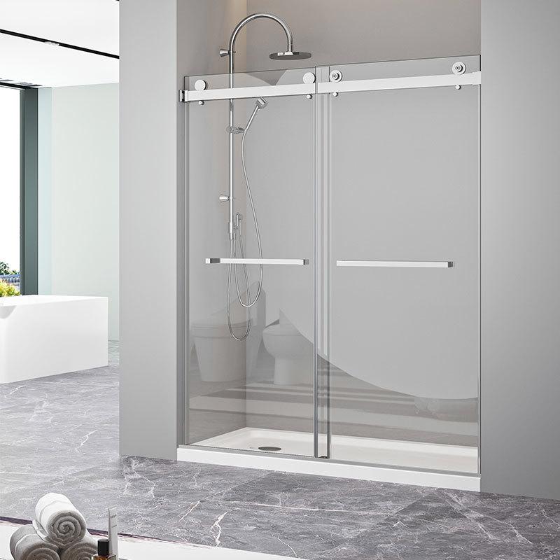Puerta de ducha de vidrio templado deslizante sin marco de bypass CBM-JP0219