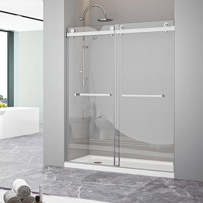 Frameless bypass sliding tempered glass shower door CBM-JP0219