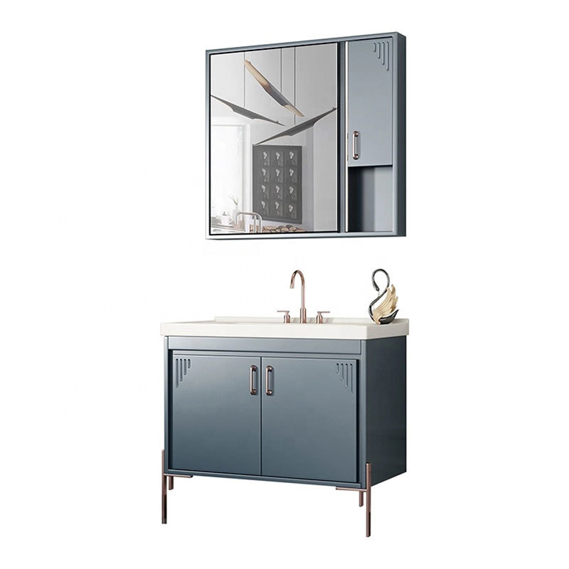 PVC modern bathroom vanity / Bathroom Cabinet with colors Top Quality customize bathroom cabinet furniture mirrored cabinet