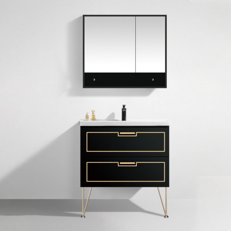Free standing Black and White color MDF Bathroom Cabinet Paint free Vanity with ceramic Sink