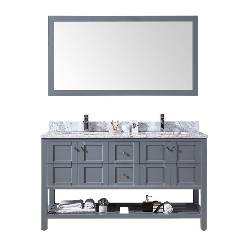 NEW design Eco-friend solid wood bathroom vanity cabinet combo with double sinks
