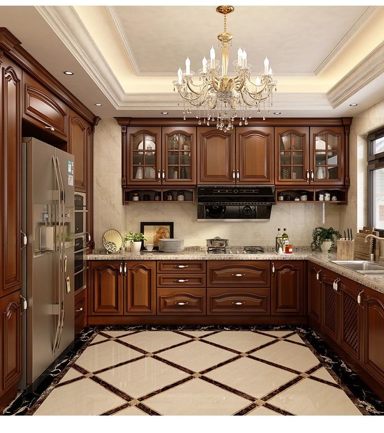 American Style Solid Wood Kitchen Cabinet Frame kitchen cabinet Crown Molding Raised panel