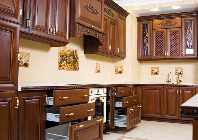 CBM cherry wood kitchen cabinets at discount for housing-1