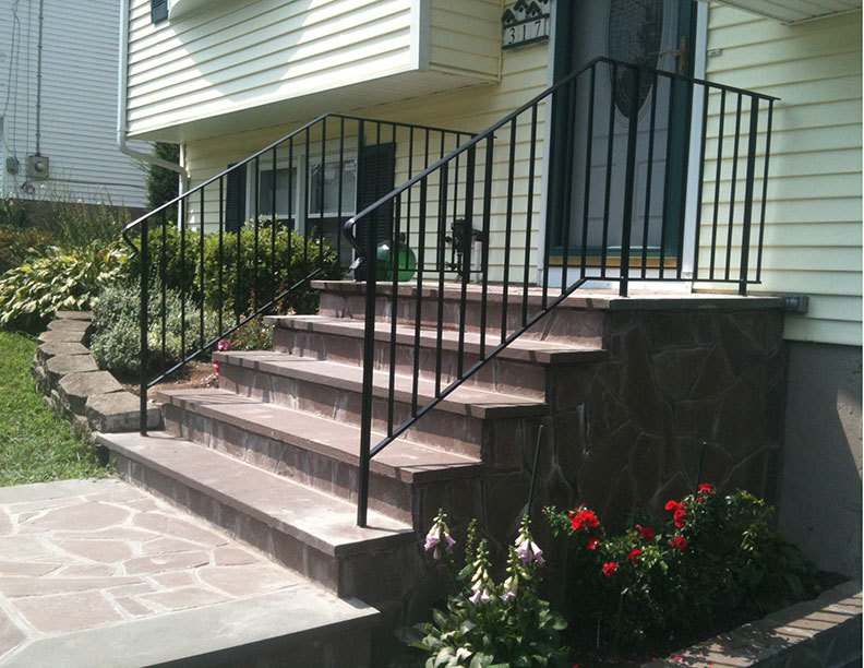 Metal forged iron handrail galvanized wrought iron staircase hand railings