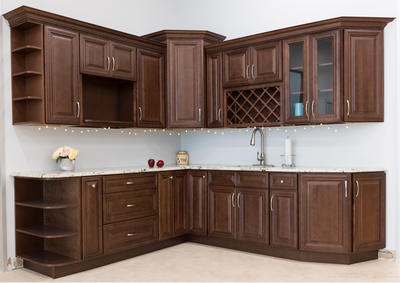 Antique customized solid wood cherry wood walnut kitchen cabinet with pillar Classic cabinets