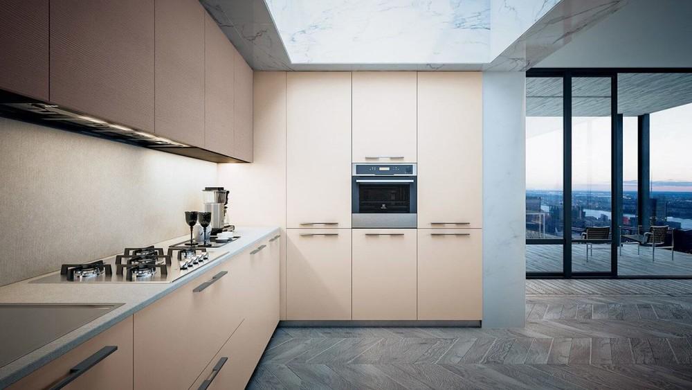 Hot sale Customization Flat Pack CommercialPVC Kitchen Cabinet Modern Style