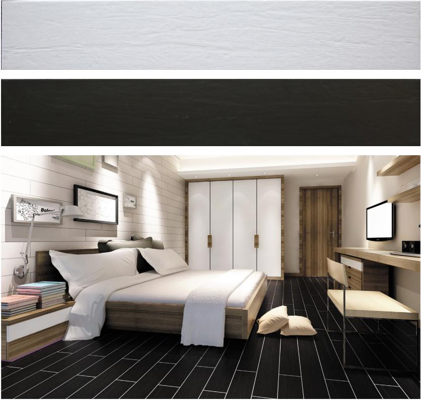 Pure white black wood floor ceramic tiles 150x800