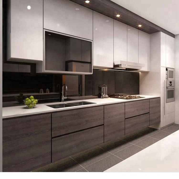 European Style Laminate Frame-less Modular Color Combinations Lacquer Kitchen Cabinet