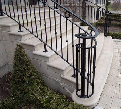 Modern House Durable Custom Staircase Welded Wrought iron Railing