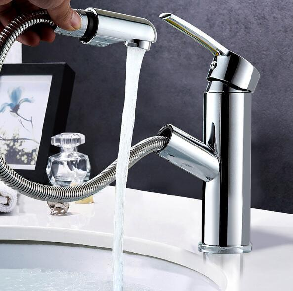 Bathroom basin faucet Cold and hot water single handle with pull down sprayer faucet basin mixer