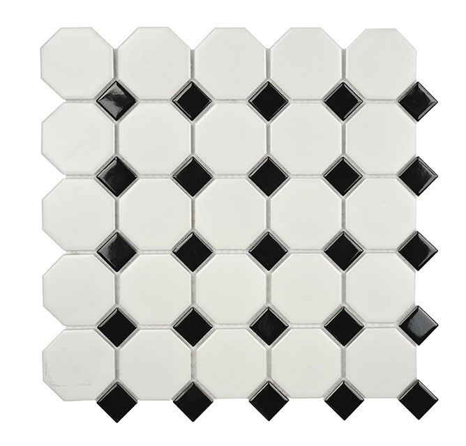 Back white mix octagon mosaic tile ceramic