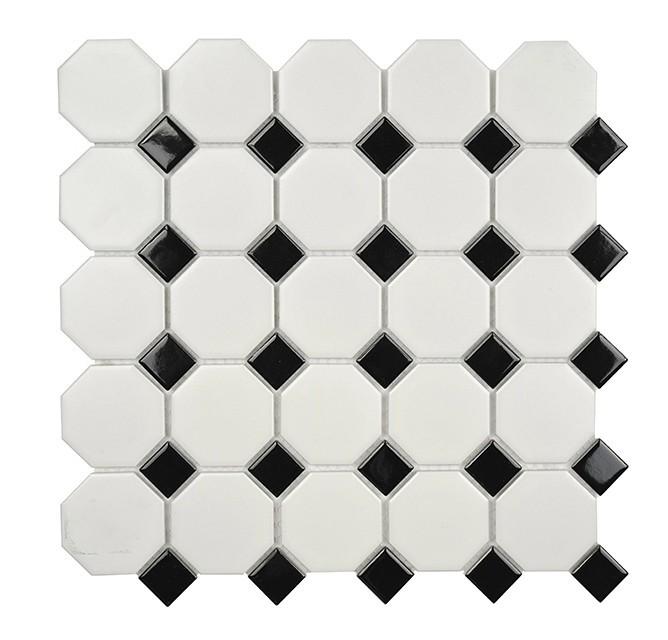 Back White Mix Octagon Mosaic Mosaic Tile Ceramic