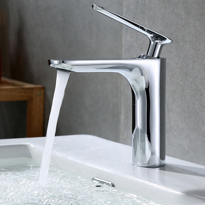 polished nickel brush body basin tap Single handle water taps with watermark certificates for bathroom
