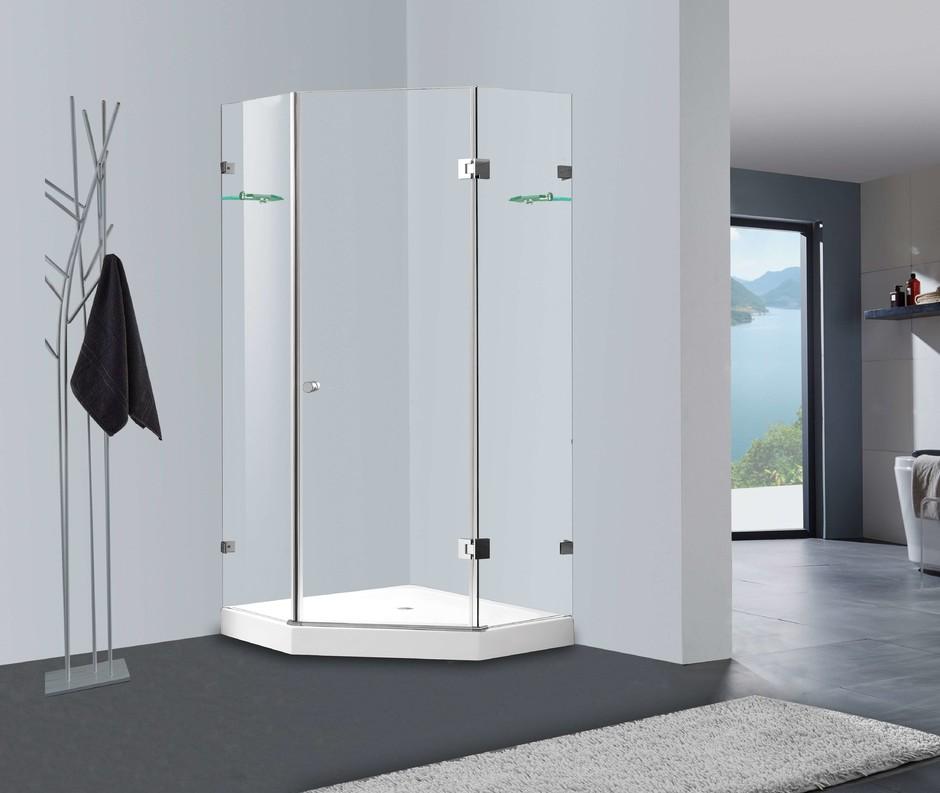 Puerta de ducha de cristal de cristal templado sin marco sin deslizamiento Mercado Australia CBM-JL0712