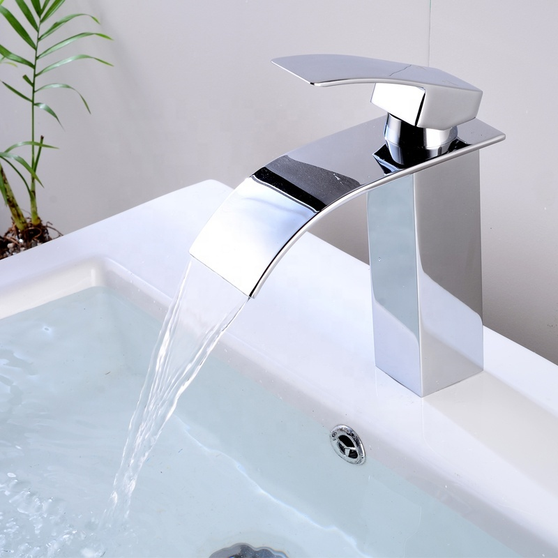 Luxury home high quality brass bathroom waterfall basin faucet water tap  Deck mounted mixer taps SUS304 lever tap single handle bathroom faucet for washing basin
