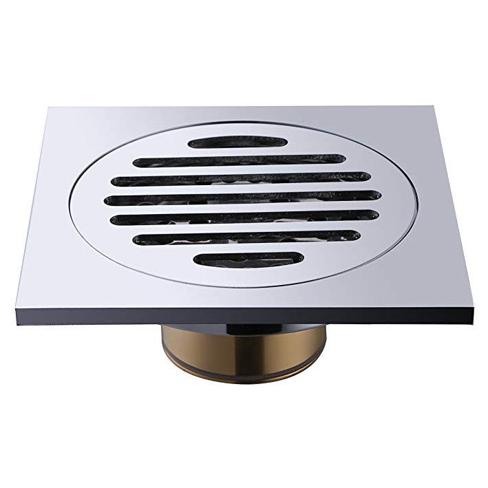 Floor drainer bathroom shower tray waste High Fast Flow 90mm Chrome Shower Waste Trap For Low Profile Brass/Stainless Steel Bathroom Tile Insert Floor Drainer with Removable Strainer Cover Chrome Finish Anti-clogging for bathroom and Washroom