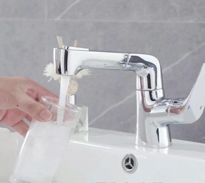 Pull-out basin faucet with brass material kitchen water tap chrome finishing