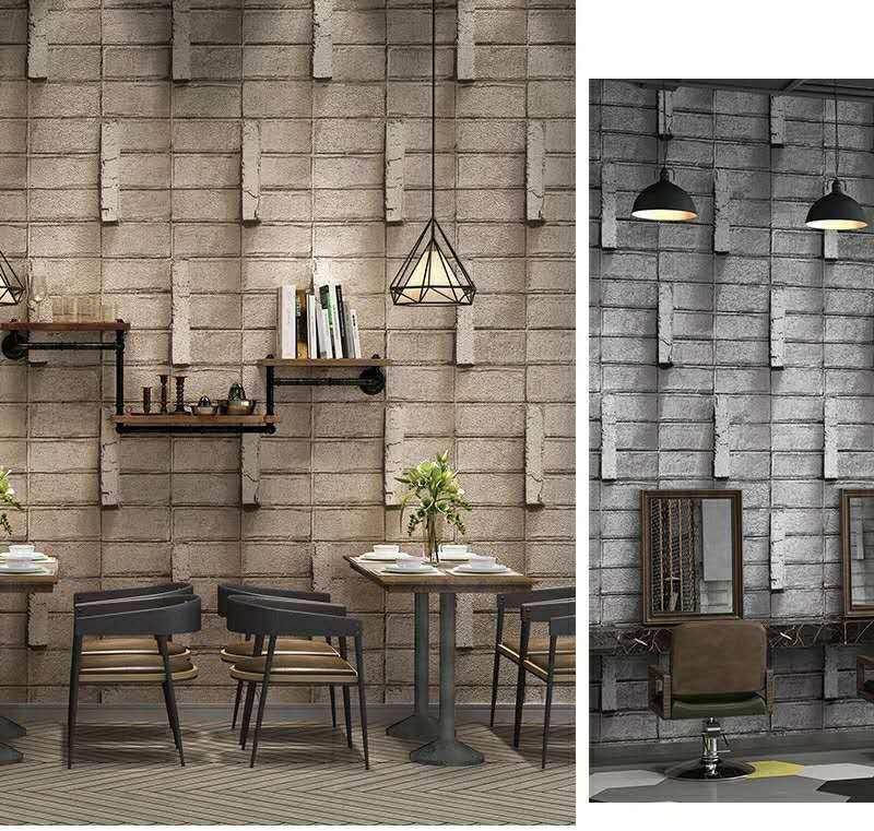 3D wall brick pattern wallpaper interior design