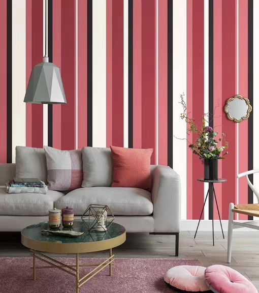 Red white black vertical stripes design wall covering