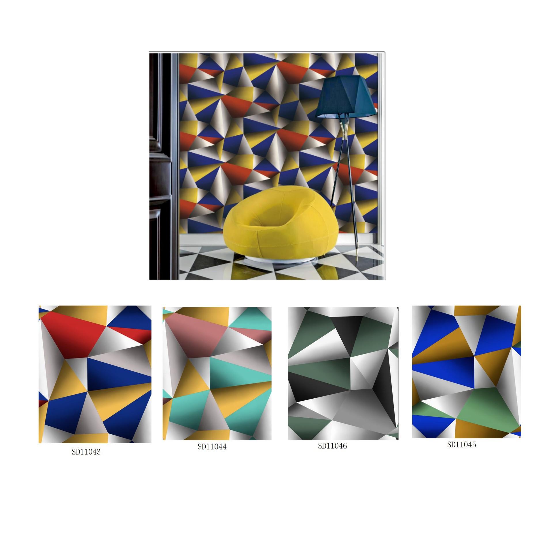 Longlife interior 3D geometric figure wallpaper printed paper