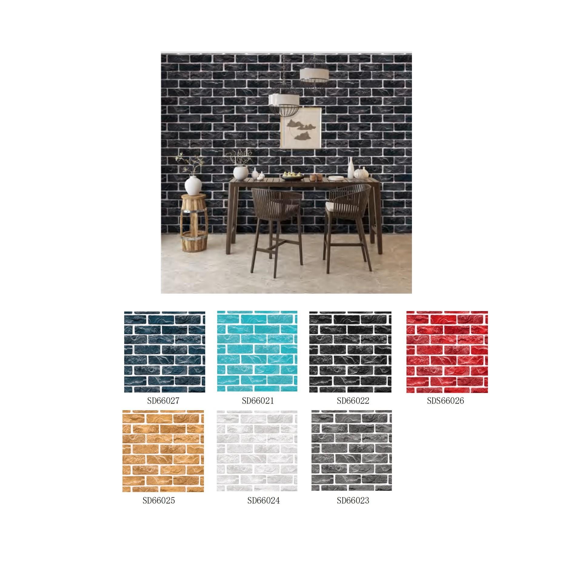 Brick design self adhesive pvc 3d decorative wallpaper