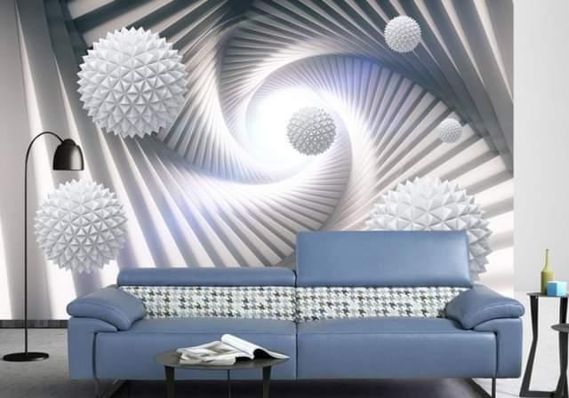 Modern 3D illusion space artificial design wallpaper decoration