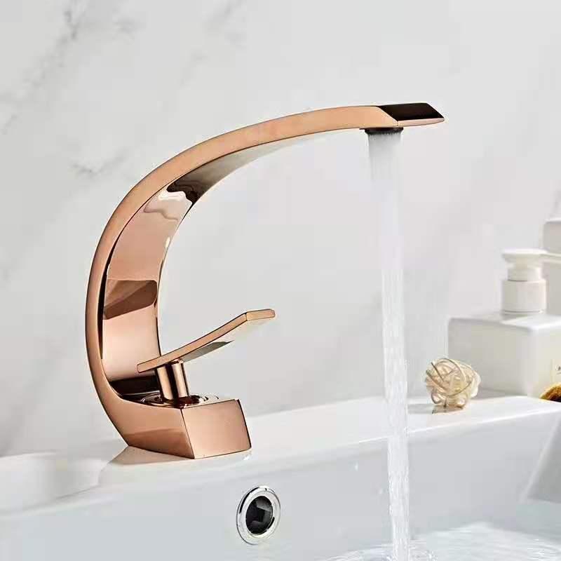 Black Yellow Rose Gold Bathroom Basin Faucets Modern Bathroom Mixer Tap Brass Washbasin Faucet Single Handle Single Hole Elegant Crane Tap