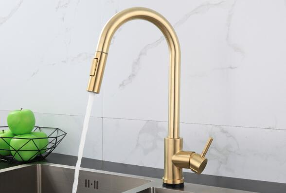 CBM  high quality Smart automatic 304 stainless steel touch Pull Down brushed gold kitchen faucet with sensor