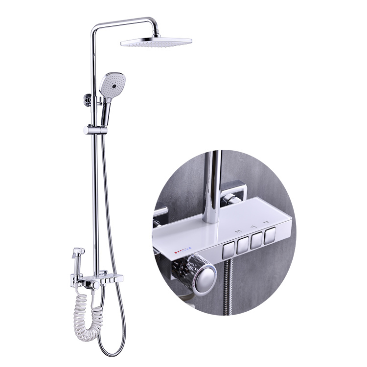 CBM rainfull showeroom set high quality water tap mixer faucets rainfall bathroom column wall thermostatic faucet shower