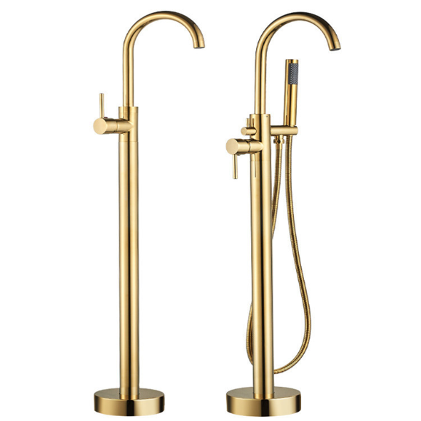 Modern Brushed Gold brass Free standing floor mount bathtub shower faucets for bathroom Bathtub Floor Free Standing Faucet Mixer Tap 360 Rotation Spout With ABS Hand shower Bath Mixer Shower