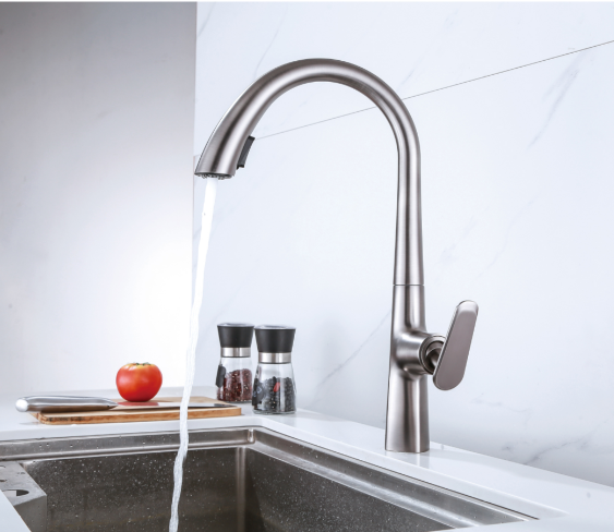 Fashion Kitchen Faucet Pull Out inside Brass Material with hose Gun Grey  Golden Black colors