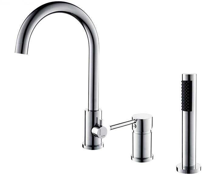 Three holes Deck Mount 5pcs Bathroom Waterfall Spout Bathtub Faucet Set with Handheld Shower Black Chrome Golden