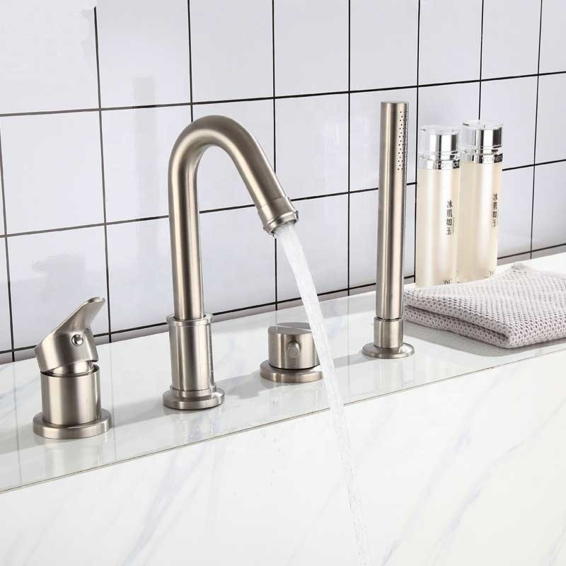 CBM 4 hole New stylish brushed split faucet 304 stainless steel hot and cold mixer four-hole bathroom bathtub faucet