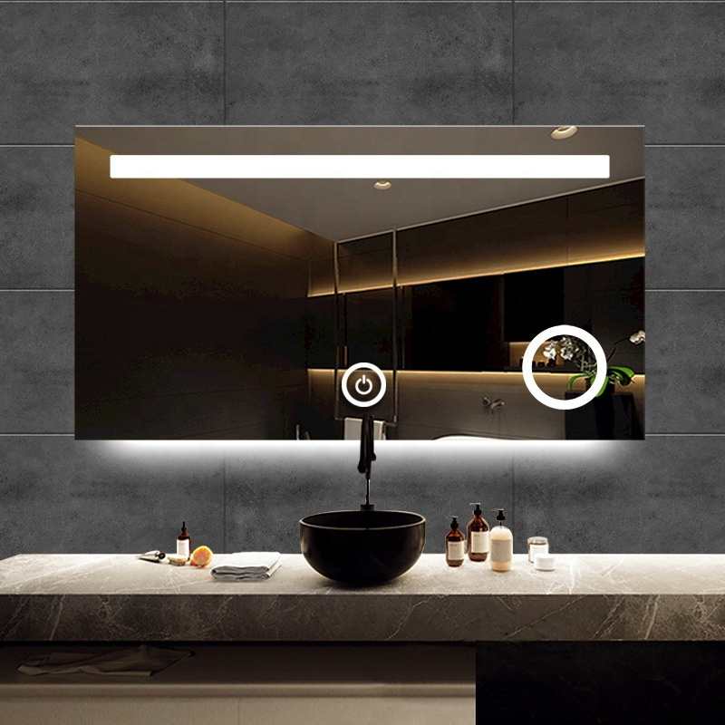 Modern Anti Explosion Light Frameless  Bathroom Smart Mirror Led