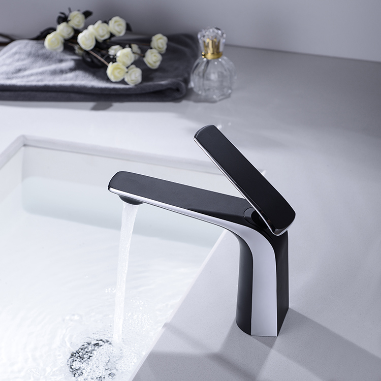 Single hole Mixer function Faucet Deck Mounted Single Lever Black Chrome Plated Brass Bathroom Basin Faucets