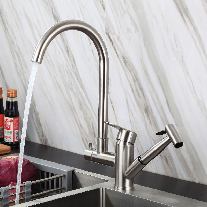New Contemporary Pull Out Kitchen Faucet Stainless Steel with Gun Spray function