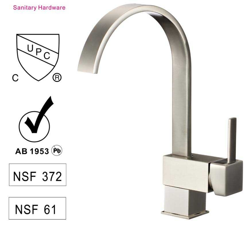 Lead Free  Brass  Single-handle Kitchen Faucet Ceramic Cartridge with CUPC WATERMARK CE Certification CBM-HJ82H08