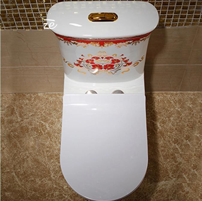 Dual-Flush Ceramic Siphonic Jet Flushing One Piece Toilets Color Pattern Red Flower