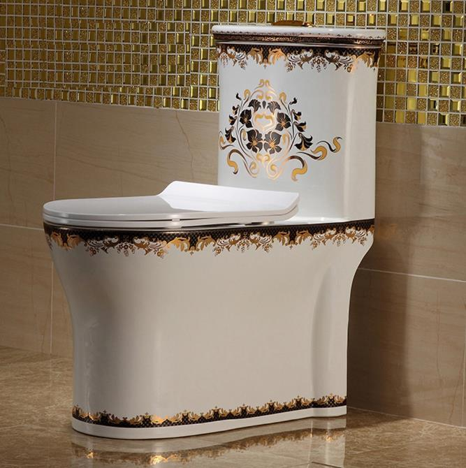 Luxury Ceramic Siphonic Jet Flushing One Piece Toilets Color Pattern