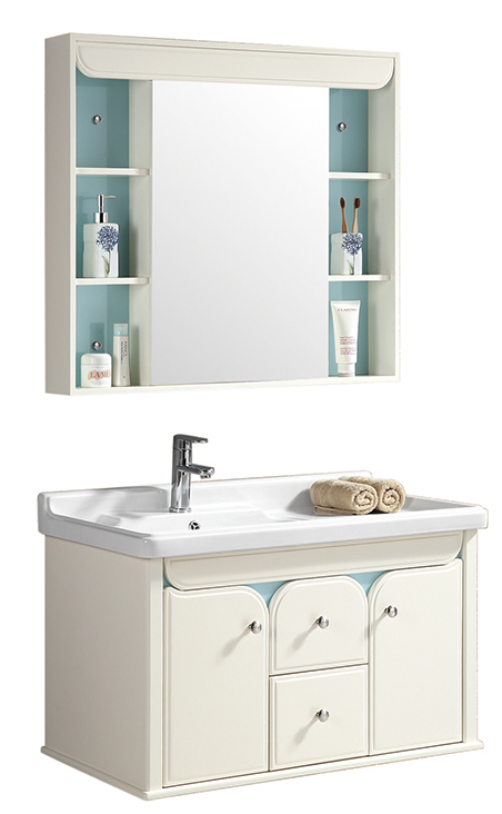 CBM Single Wash Basin Sink PVC Bath Room Cabinet, Bathroom Vanity Furniture