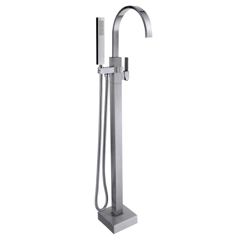 Chrome Bathroom Brushed Silver Floor Mount Free Standing Bathtub Bath shower Mixer Tap CBM-HT