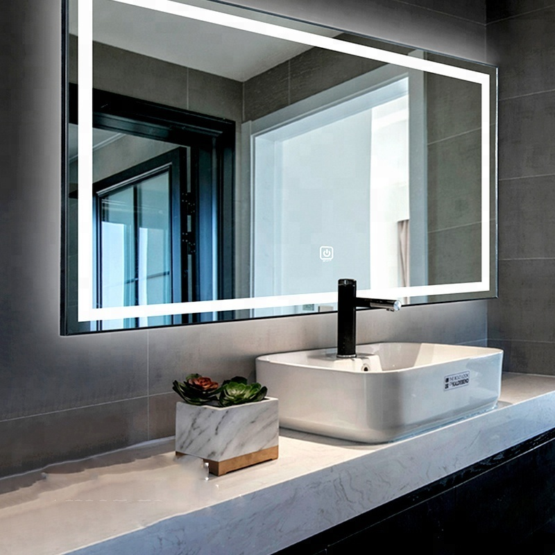 Hot sale Dimmable frameless rectangle copper free smart led mirror for bathroom