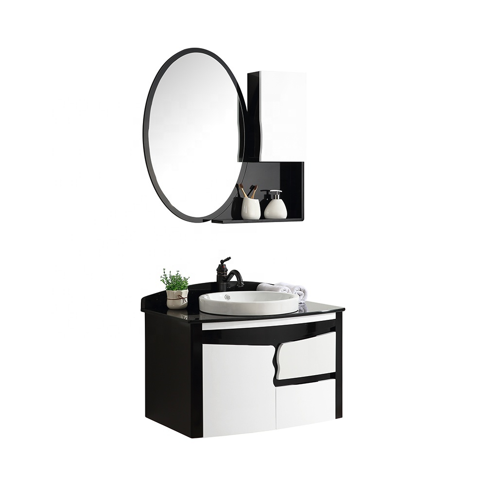 CBM hotel black modern wooden bathroom furniture set vanity cabinet