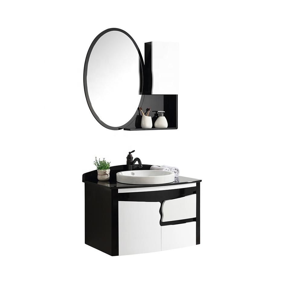 CBM hotel black modern wooden bathroom furniture set vanity cabinet