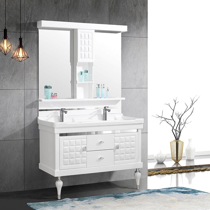 CBM modern Bathroom vanity floor Mounted Bathroom Cabinet furniture with Double wash basin