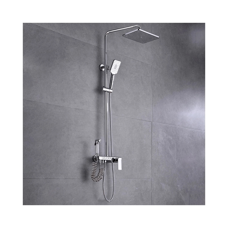 CBM competitive price bathroom provide wholesale commercial bathroom shower set cheap matte chrome shower column shower set