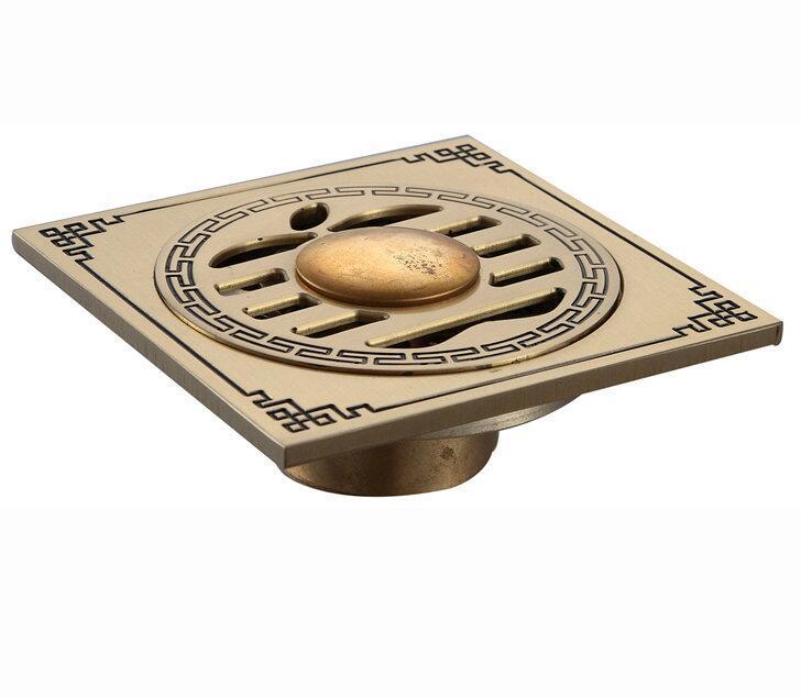 CBM Smart Brass Tapón para el cabello Tapón de baño Ducha de baño Trap Base de drenaje Filtro Estilo moderno Diseño personalizado Cuadrado Antiguo Ducha Latón Drenajes de suelo