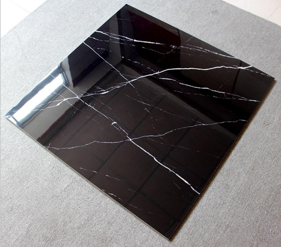 Nero Margiua veins black marble look floor tiles 600x600