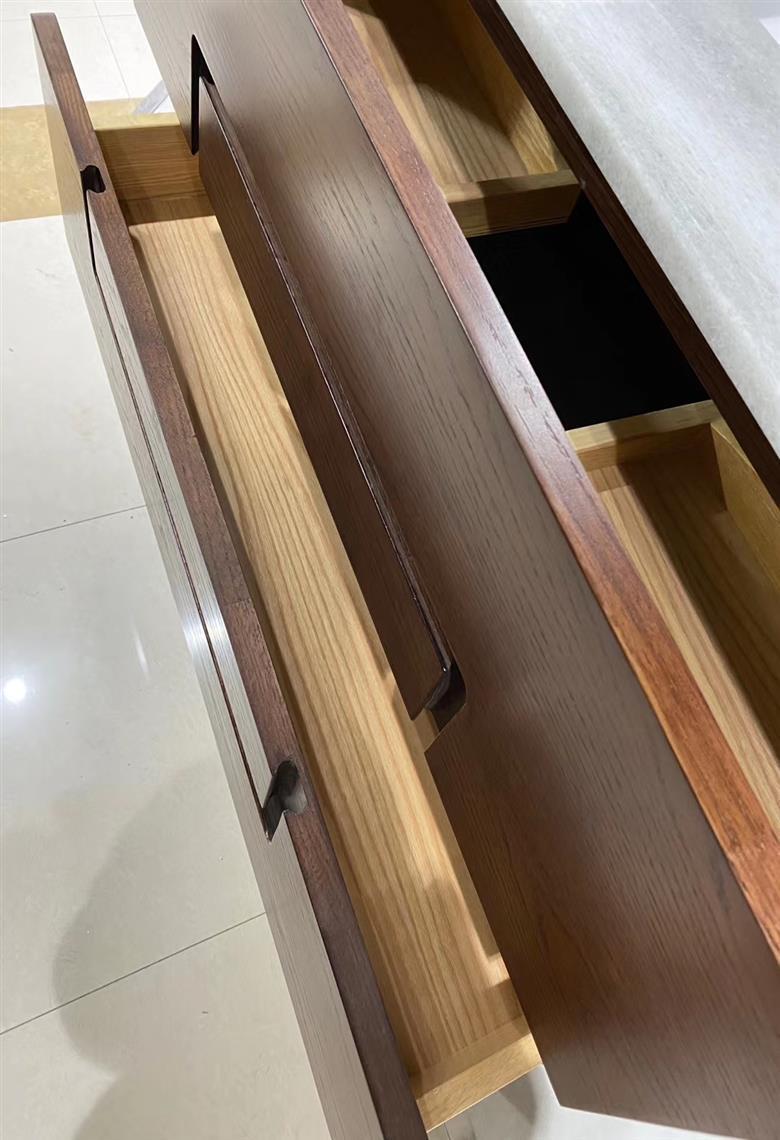 CBM New design customized manufacture red oak solid wood bathroom vanity