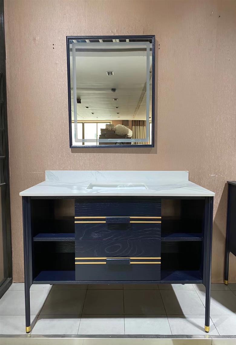 CBM new design bath furniture vanity bathroom cabinet with mirror solid wood bathroom vanity